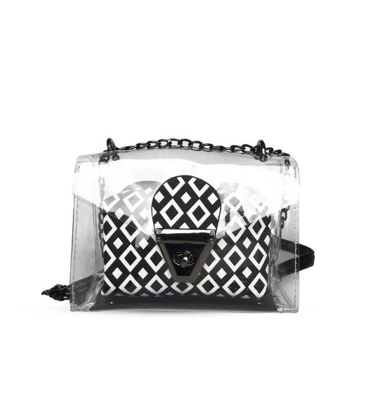 Women's Patterned Black- White Transparent Crossbody Bag - Trendyul