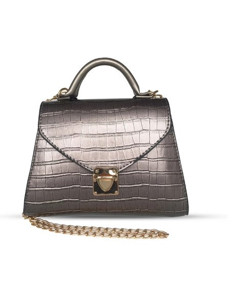 Women's Chain Strap Silver Crossbody Bag - Trendyul