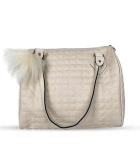 Women's Furry Bobble Accessory Beige Sleeve Bag - Trendyul