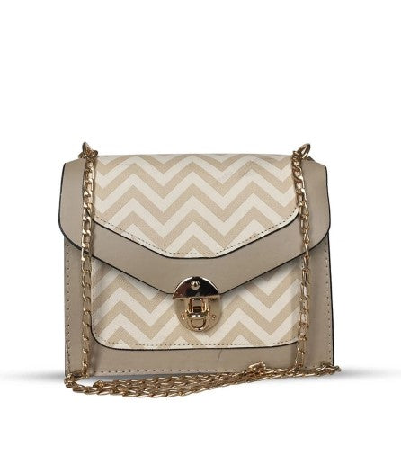 Women's Patterned Cream Crossbody Bag - Trendyul