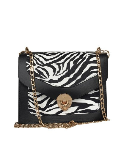 Women's Zebra Pattern Black Crossbody Bag - Trendyul