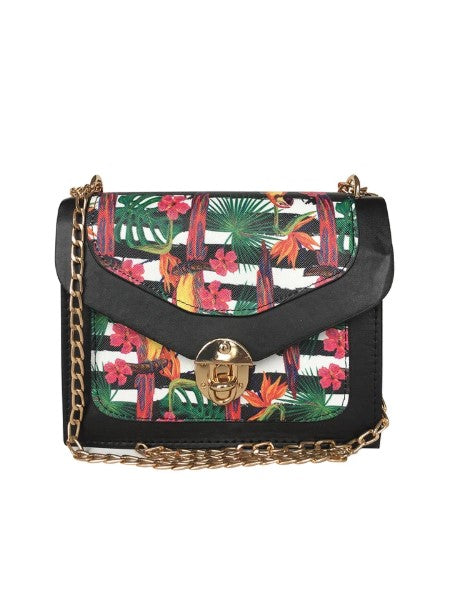 Women's Patterned Black Crossbody Bag - Trendyul