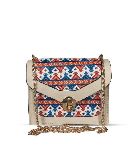 Women's Patterned Beige Crossbody Bag - Trendyul