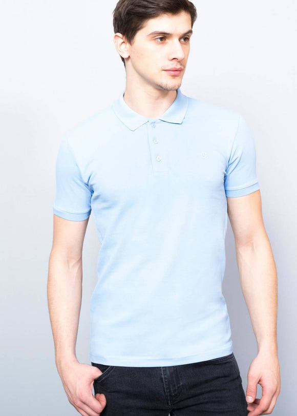 Men's Basic Light Blue Polo Neck T-Shirt - Trendyul