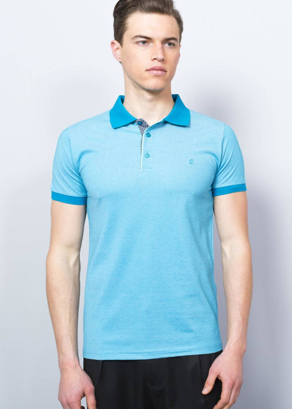 Men's Crested Basic Petrol Polo T-shirt - Trendyul