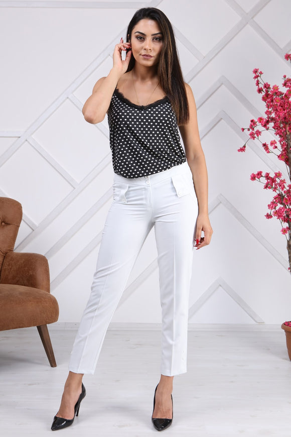 Women's Pocket Polyviscose Ankle Pants - Trendyul