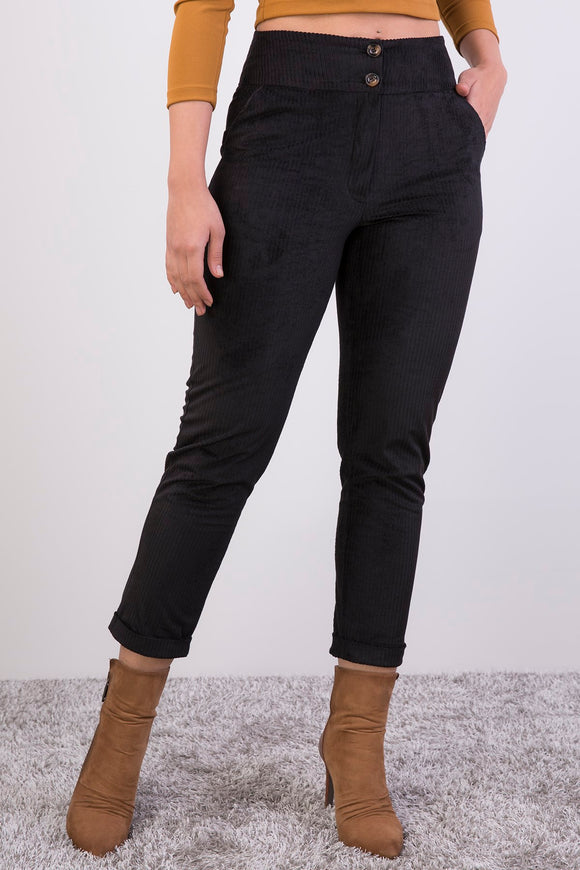 Women's High Waist Velvet Pants - Trendyul