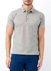 Men's Buttoned Polo Collar Plain Khaki T-shirt - Trendyul