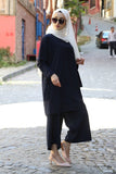 Women's Navy Blue Modest Tunic Pants Set - Trendyul