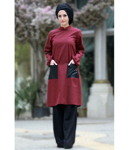 Women's Leather Pocket Claret Red Tunic - Trendyul