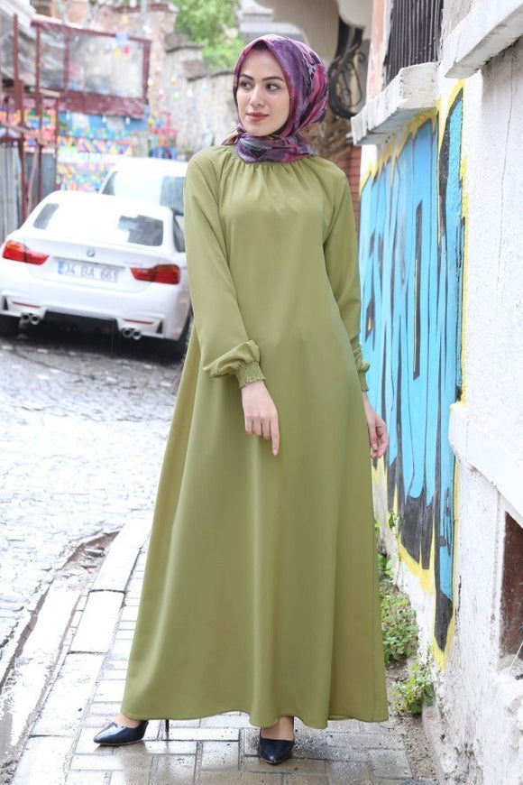 Women's Shirred Modest Dress - Trendyul