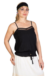Women's Strappy Black Blouse - Trendyul