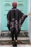 Women's Fringe Patterned Poncho - Trendyul