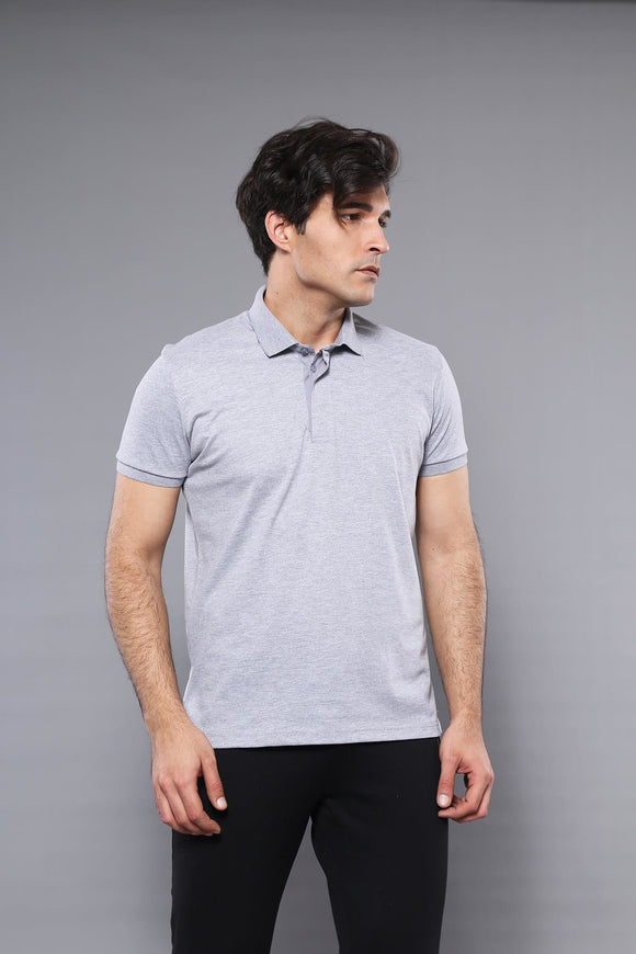 Men's Plain Grey Polo T-shirt - Trendyul