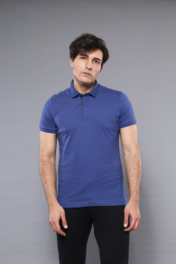 Men's Plain Dark Blue Polo T-shirt - Trendyul