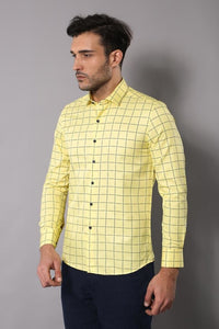 Men's Checkered Yellow Slim Fit Shirt - Trendyul