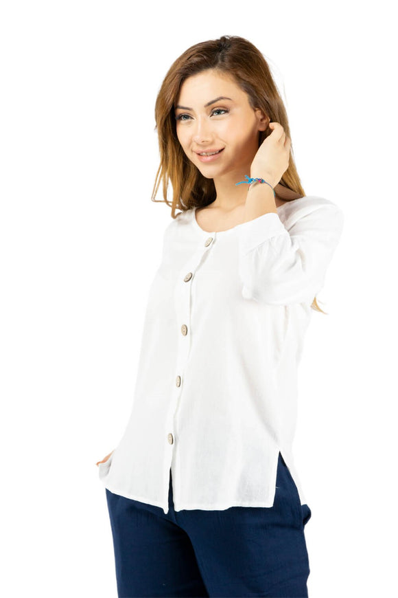Women's Button White Blouse - Trendyul
