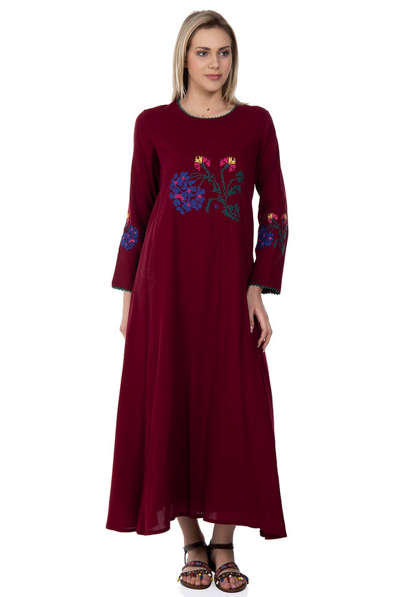 Women's Embroidered Claret Red Long Dress - Trendyul