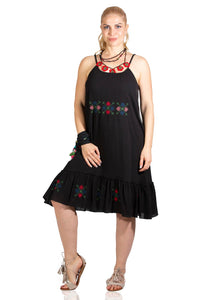 Women's Strappy Embroidered Black Short Dress - Trendyul