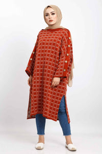 Women's Checkered Tile Red Tricot Poncho - Trendyul