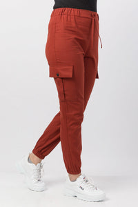 Women's Tile Red Cargo Pants - Trendyul