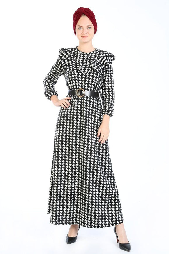 Women's Belted Houndstooth Pattern Black Long Dress - Trendyul