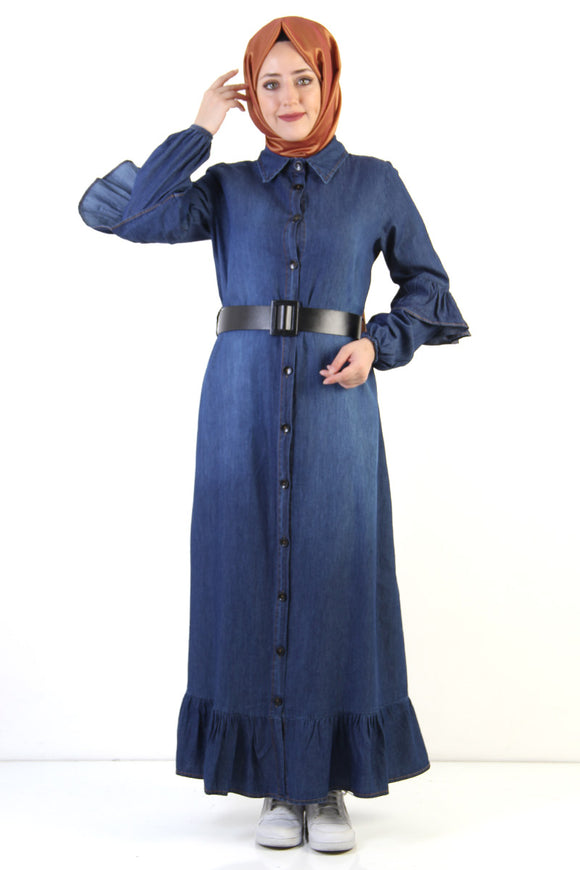 Women's Belted Ruffle Dark Blue Denim Modest Long Dress - Trendyul