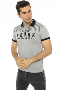 Men's Polo Collar Printed Grey Slim Fit T-shirt - Trendyul
