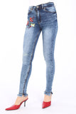 Women's Embroidered Navy Blue Jeans - Trendyul