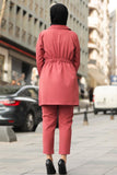Women's Pocket Dusty Rose Modest Jacket Pants Set - Trendyul