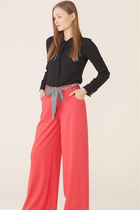 Women's Belted Wide Legs Coral Pants - Trendyul