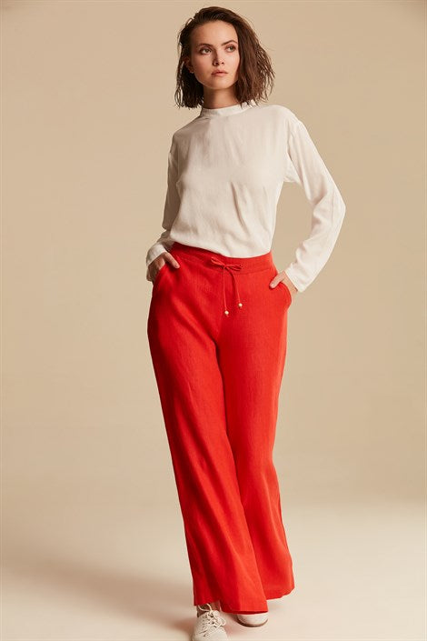 Women's Wide Legs Red Linen Pants - Trendyul