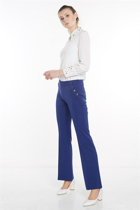 Women's Button Detail Saxe Straight Fit Pants - Trendyul