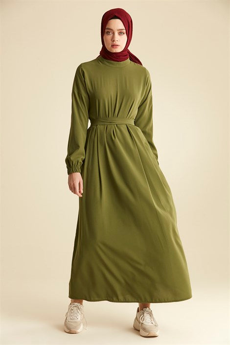 Women's Low Sleeves Green Long Dress - Trendyul