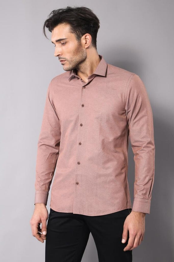 Men's Dot Pattern Brown Shirt - Trendyul