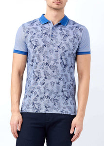 Men's Polo Collar Printed Dark Blue Slim Fit T-shirt - Trendyul