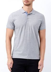 Men's Polo Collar Basic Grey Slim Fit T-shirt - Trendyul