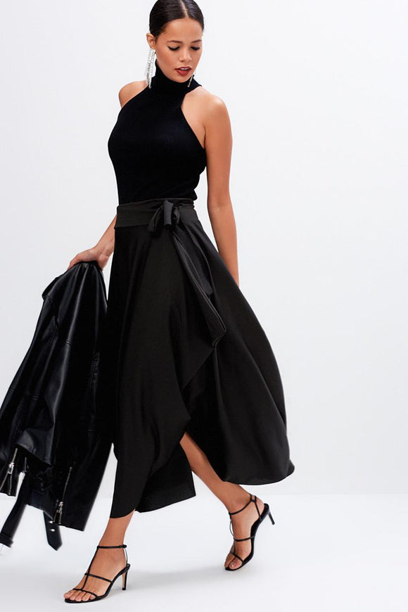Women's Asymmetric Cut Black Midi Skirt - Trendyul
