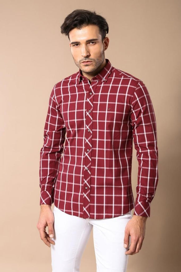 Men's Checkered Claret Red Slim Fit Shirt - Trendyul