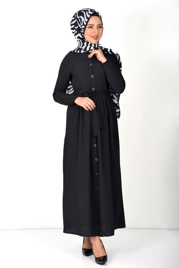 Women's Black Modest Long Dress - Trendyul
