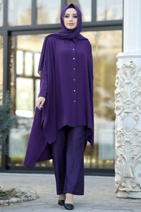 Women's Purple Evening Tunic & Pants Set - Trendyul