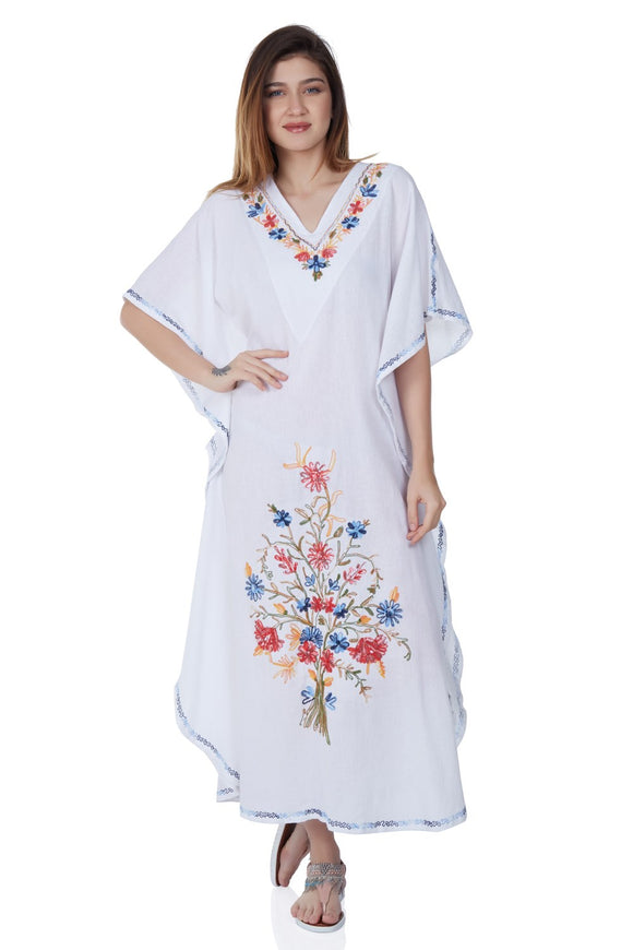 Women's Embroidered White Long Dress - Trendyul