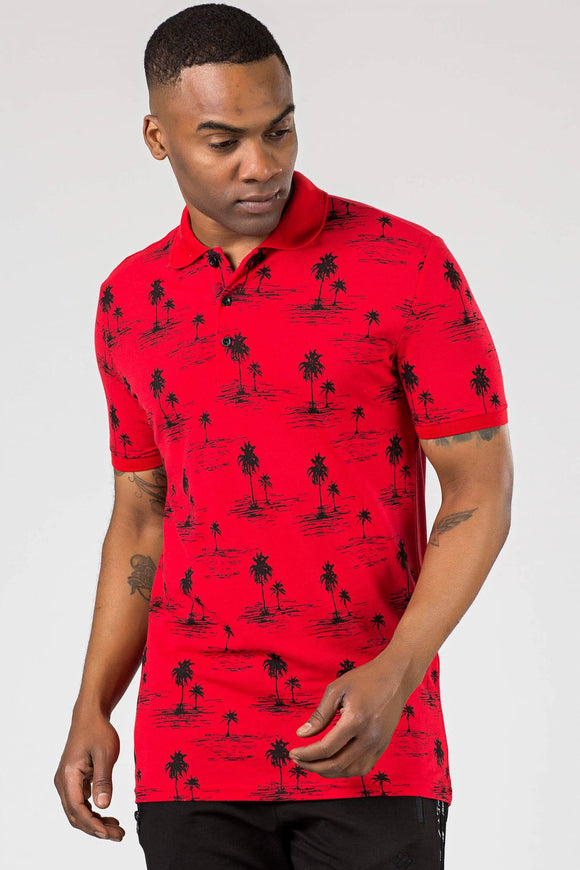 Men's Polo Collar Patterned Red T-shirt - Trendyul