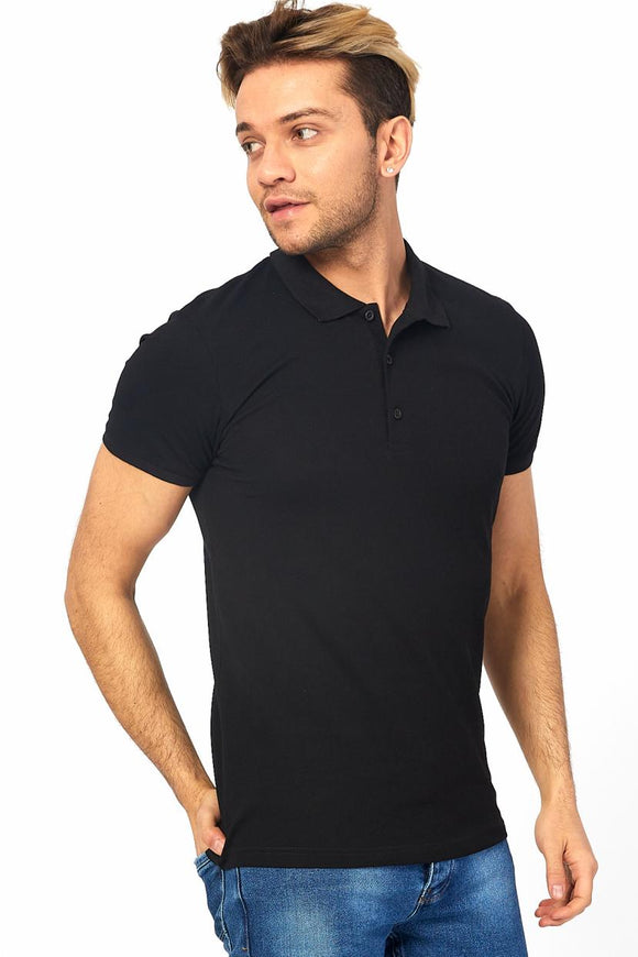 Men's Polo Collar Black Lycra T-shirt - Trendyul
