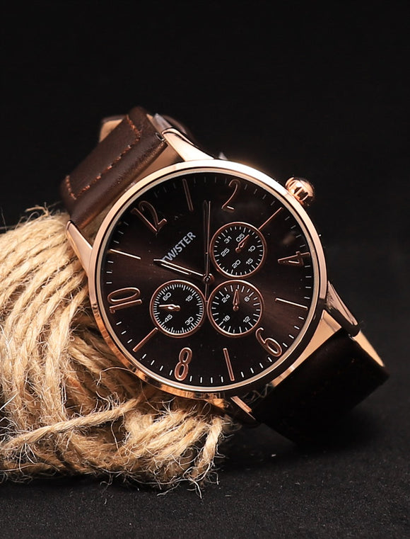 Men's Brown Strap Round Case Watch - Trendyul