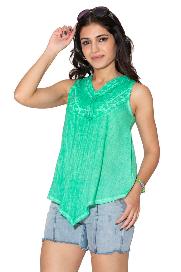 Women's Green Sleeveless T-shirt - Trendyul