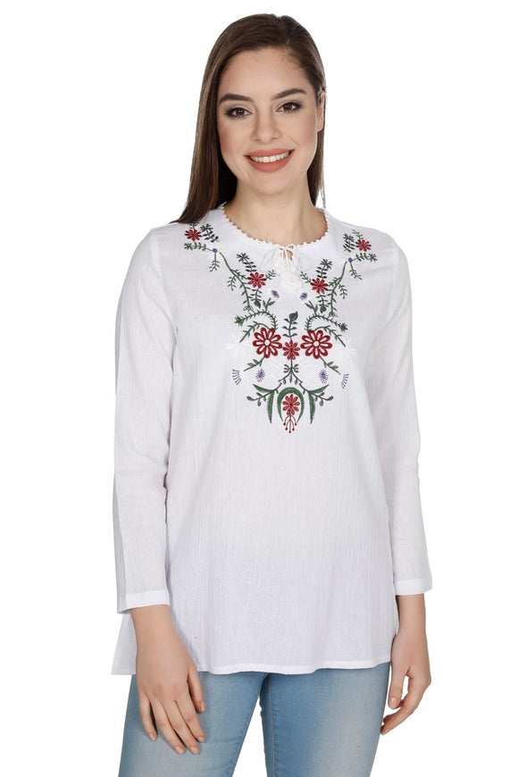 Women's Embroidered White Blouse - Trendyul