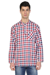Men's Crew Neck Long Sleeves Checkered T-shirt - Trendyul