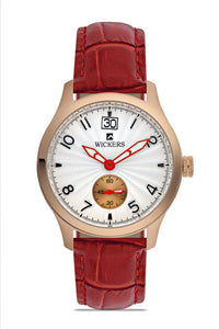 Women's Metal Case Claret Red Strap Watch - Trendyul