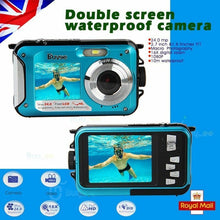 Load image into Gallery viewer, 24MP DOUBLE SCREEN UNDERWATER DIGITAL VIDEO CAMERA HD 1080P,10M WATERPROOF,BLUE - Boat-yard.com